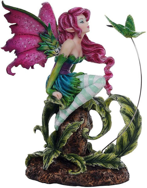 Pacific Giftware Beautiful Flirting Fairy with Hummingbird Collectible Decorative Statue 6.5H