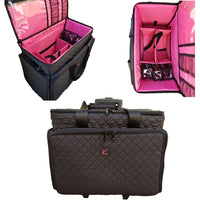 Artist Kiota Soft Makeup Case on Wheels Cosmetic Trolley Inside Removable Storage Pockets