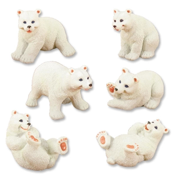 YTC White Polar Bears (Set of 6) - Collectible Figurine Statue Figure