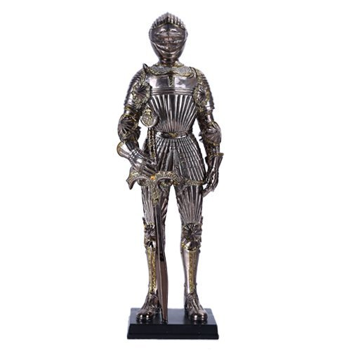 "Pacific Giftware 13"" Tall Medieval Knight with Sword Statue Figurine Suit of Armor with Stand"