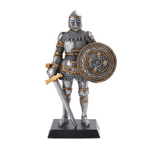 PTC 5 Inch Armored Medieval Knight with Sword and Shield Statue Figurine