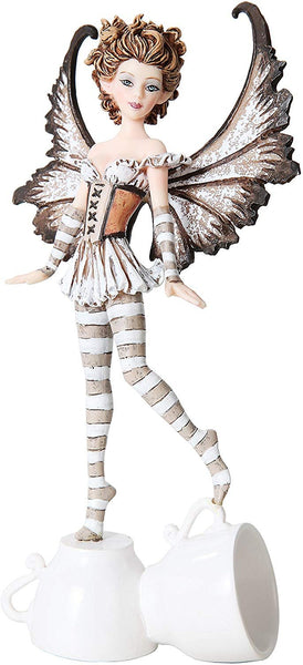 7.25 Inch Espresso Winged Fairy Standing on Cups Statue Figurine