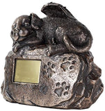 Pet Memorial Angel Dog Cremation Urn Bronze Finish Bottom Load 45 Cubic Inch