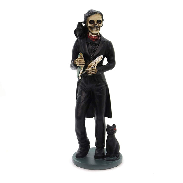 5.5 Inch Skeledgar Allan Poe Skeleton Figurine with Book, Black
