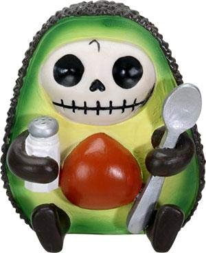SUMMIT COLLECTION Furrybones HASS Signature Skeleton in Avocado Costume Holding onto a Salt Shaker and Spoon