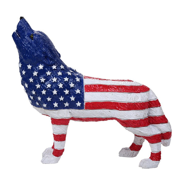 The Wolf Spirit Collection American Patriotic Spirit Wolf Collectible Figurine Howling Wolf Star Spangled Banner 6.25L