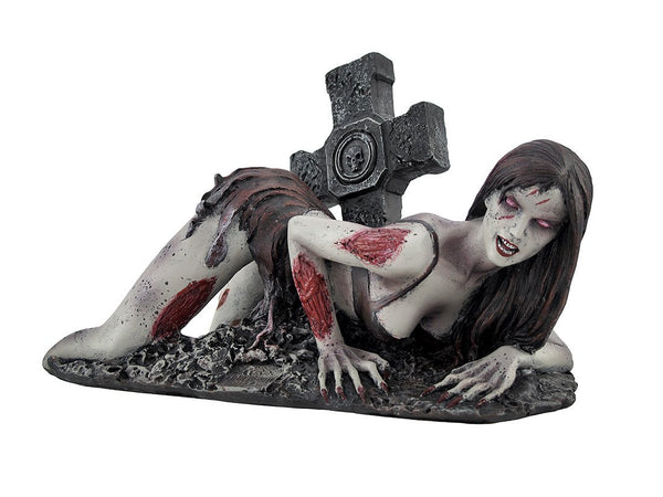 Undead Zombie Stripper Crawling Out of Grave Statue Figurine