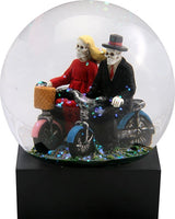 YTC Skull Lovers on Red and Blue Bicycles in a Water Globe with Glitter