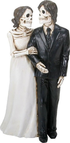 YTC Summit International Love Never Dies Skeleton Wedding Bride and Groom Holding Hands Figurine New