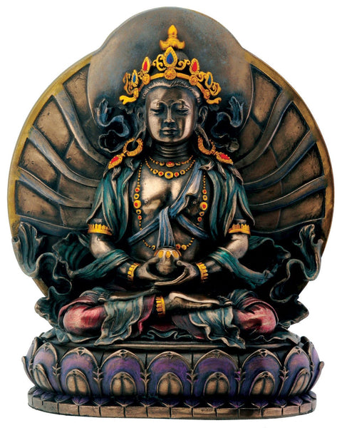 Bronze Amitayus Sitting On Lotus Buddhism Decoration Figurine