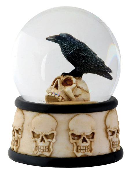 YTC 3.5 Inch Cold Cast Resin Raven on Skull Water Snow Globe Skull Theme
