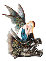 10.25 Inch Steampunk Mechanical Fairy Sitting on Skull Statue Figurine