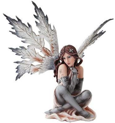 14 Inch Winter Wonderland Snowflake Winged Fairy Statue Figurine