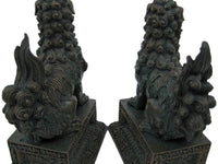 Chinese Guardian Lions Foo Dogs Bronzed Finish Statue Bookends