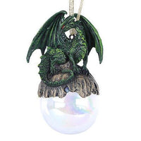 Lord of the Forest Green Dragon Glass Ball Ornament by Ruth Thompson Tree Decor