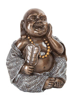 4 Inch Happy Buddha Holding Fan Buddhism Resin Statue Figurine