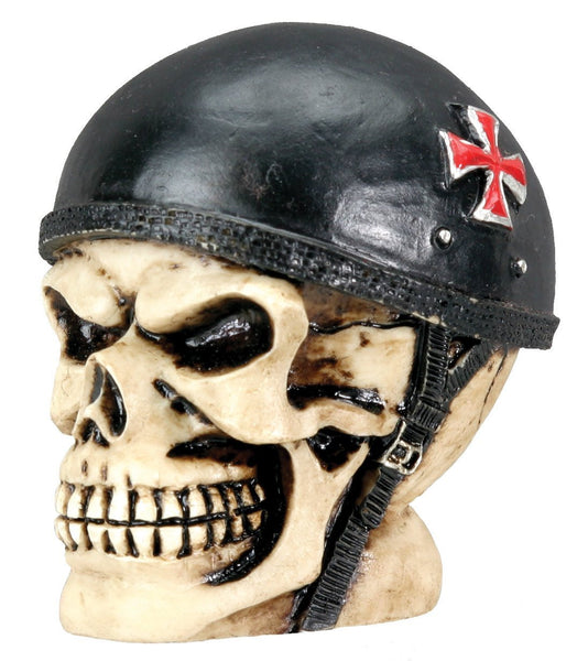 Sm. Biker Skull Collectible Figurine Statue Sculpture Figure Skeleton