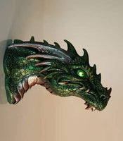 Pacific Giftware Medieval Times Green Dragon Wall Plaque with LED Illuminated Eyes Sculpture Plaque Home Decor
