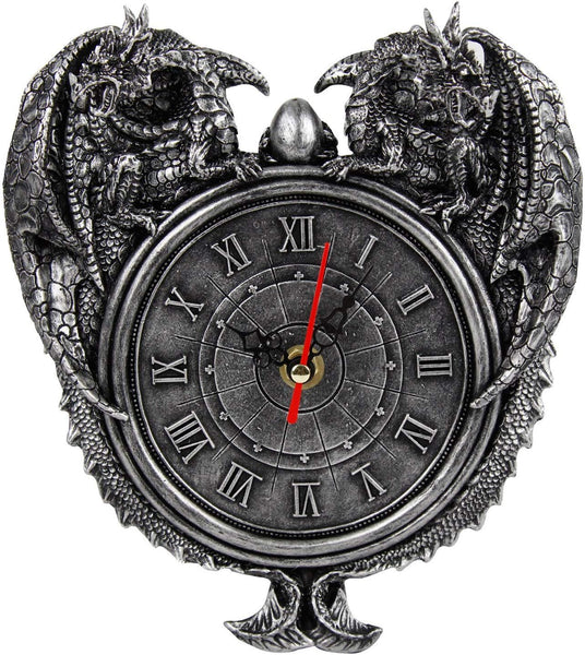 Pacific Giftware Dragon Twins Sentinel Double Dragons Guarding Orb Wall Clock Metallic Pewter Finish 9 Inch Tall