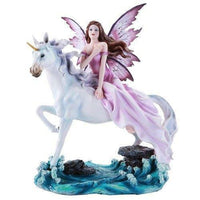 Beautiful Fairy Riding Gracefully on Mystical Unicorn Figurine Collectible 11 In