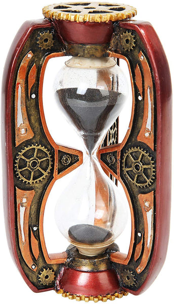 PTC 6.13 Inch Red Steampunk Inspired Sand Timer Hourglass Statue Figurine