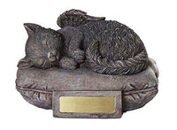 Pet Memorial Angel Cat Sleeping On Pillow Cremation Urn Bottom Load 30 Cubic...