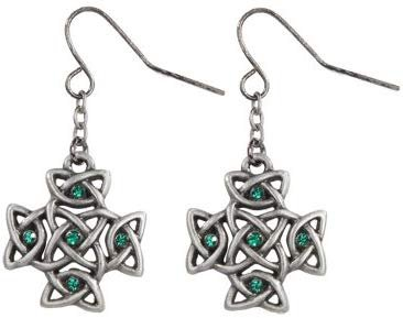 Celtic Cross with Green Crystal Pewter Earrings Jewelry- Mystica Collection