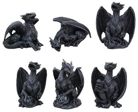 4 Inch Miniature Gargoyle Dragons Statue Figurines, Set of Six