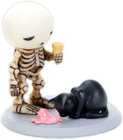 3.5 Inch Skeleton Bones Lucky with Cat Eating Pink Ice Cream