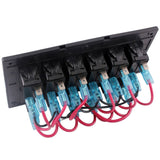 12V 6 Gang Car Boat Switch Panel Waterproof Auto Fuses With LED Indicators Rocker IP68