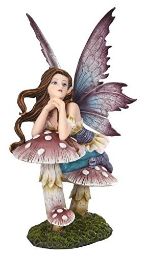 5.25 Inch Fairyland Pink Fairy Leaning on Mushroom Statue Figurine