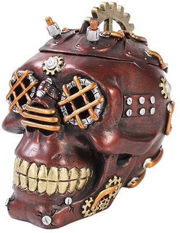 Exotic Steampunk Cool Rock Skull Jewelry Box Figurine Made of Polyresin