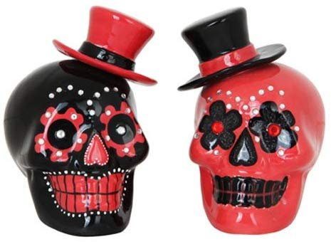 Pacific Giftware Day of Dead Sugar Black & Red Skulls Salt & Pepper Shakers Set Rhinestone DOD Top Hat