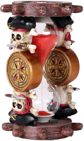 Pacific Giftware Pirates of The Black Sails Compass and Nautical Ship Wheel Sand Timer Hourglass Decorative Collectible 6 Inch H