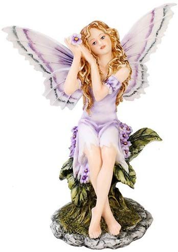 Meadowland Purple Fairy Sitting Statue Polyresin Figurine Home Decor