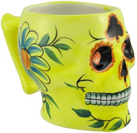 Yellow Ceramic Day of the Dead Sugar Skull Coffee Mug DOD