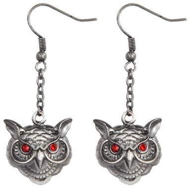Wise Owl Head Pewter Earrings Jewelry- Mystica Collection