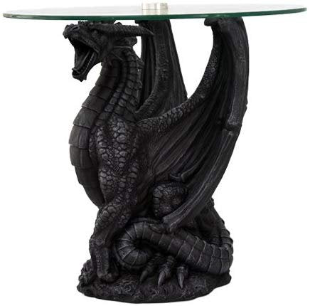 "Dragon Side Table Home Decorative Fantasy 21.25"" Tall"