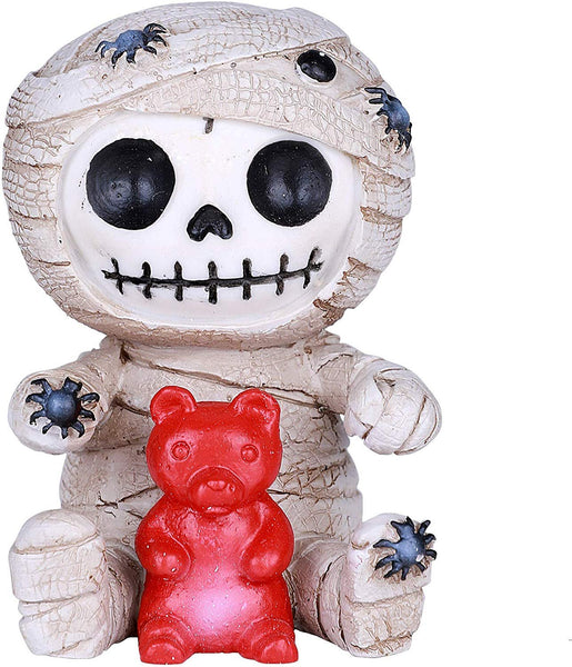 SUMMIT COLLECTION Furrybones Mummy Signature Skeleton in White Bandaged Egyptian Corpse Costume with a Red Gummy Bear