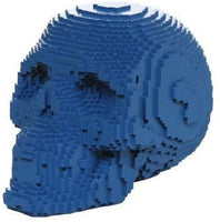 Pacific Giftware 3D Pixelated Skull Collectible Desktop Figurine Gift 4 Inch (Blue Color)