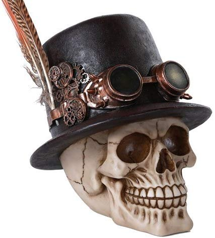 Pacific Giftware Steampunk Feathered Top Hat Skull with Steampunk Goggles Collectible Figurine Skull Decor