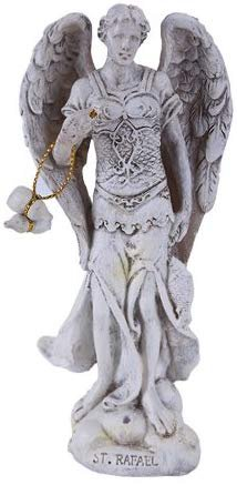 "Pacific Giftware 4.75"" Tall White Saint Raphael Healer and Guide for The Special Pilgrim Archangel Collectible Figurine"