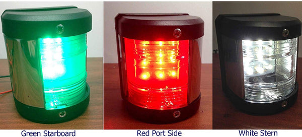 MARINE BOAT GREEN STARBOARD, RED PORT SIDE & STERN LED NAVIGATION LIGHT 3PC SET