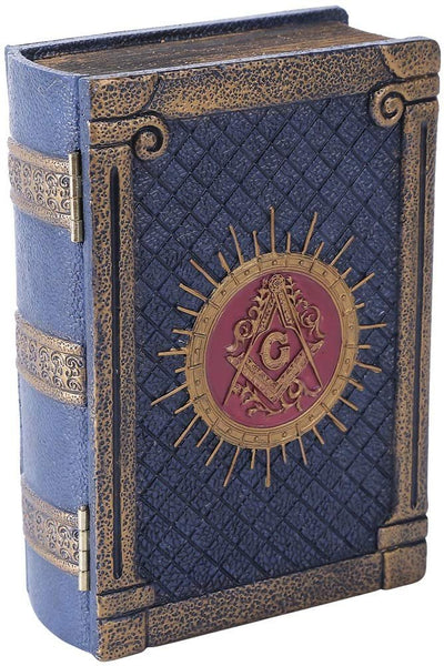 Pacific Trading Handpainted Resin Antique-Look Freemason Masonic Symbol Book-Shaped Box