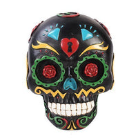 Pacific Giftware Black Day of The Dead Skull Wall Plaque Figurine Made of Polyresin