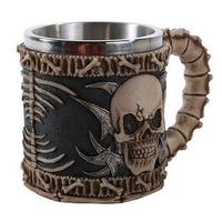 Gothic Tribal Skull Tankard Coffee Beverage Mug Stainless Steel Insert