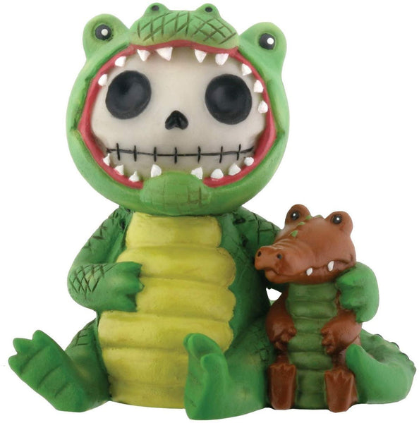 SUMMIT COLLECTION Furrybones Chompsy Signature Skeleton in Green Crocodile Costume with Tiny Crocodile Buddy