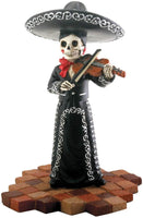Skeleton Skull Black Mariachi Band Violin Figurine Collectible