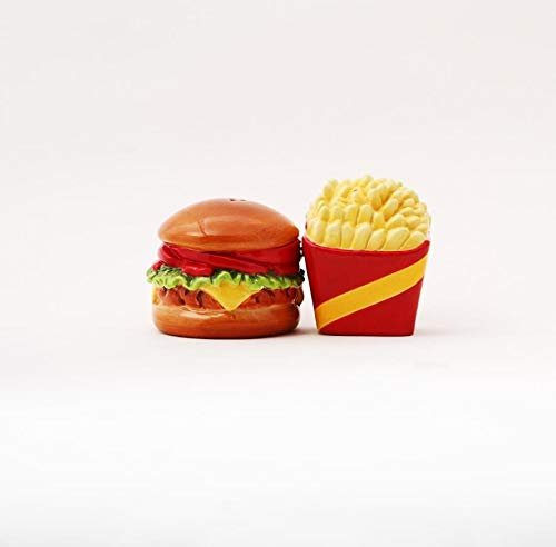 "NEW! 4"" Burger and Fries Magnetic Salt and Pepper Shakers"
