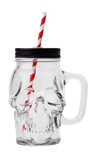 Pacific Giftware Novelty Glass Skull Face Drinking Mug Mason Jar with Glass Handles 13oz with Lid and Straw
